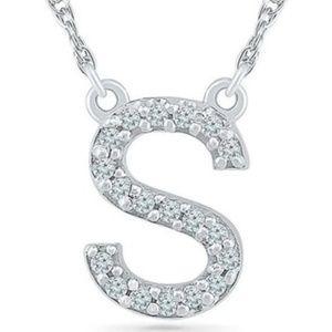 Jewelry - White Gold Diamond Initial S Pendant 1/20ctw